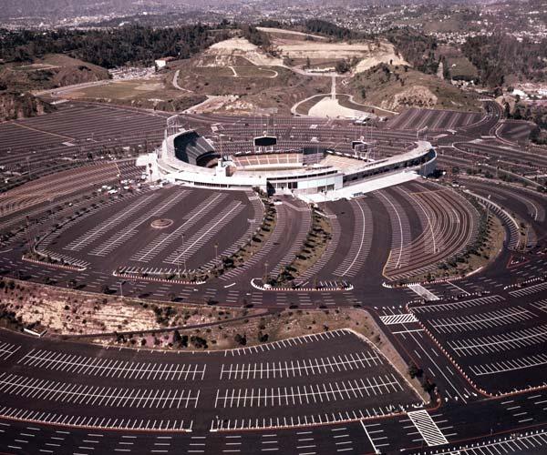 Stadium Aerial View Aerial of Dodger Stadium in