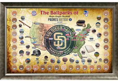 San Diego Padres Ballpark Map Framed Collage w/Game Used Dirt