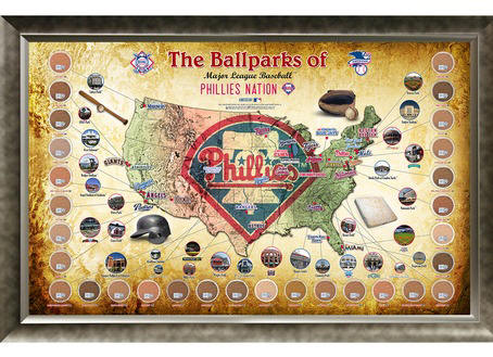Philadelphia Phillies Ballpark Map Framed Collage w/Game Used Di