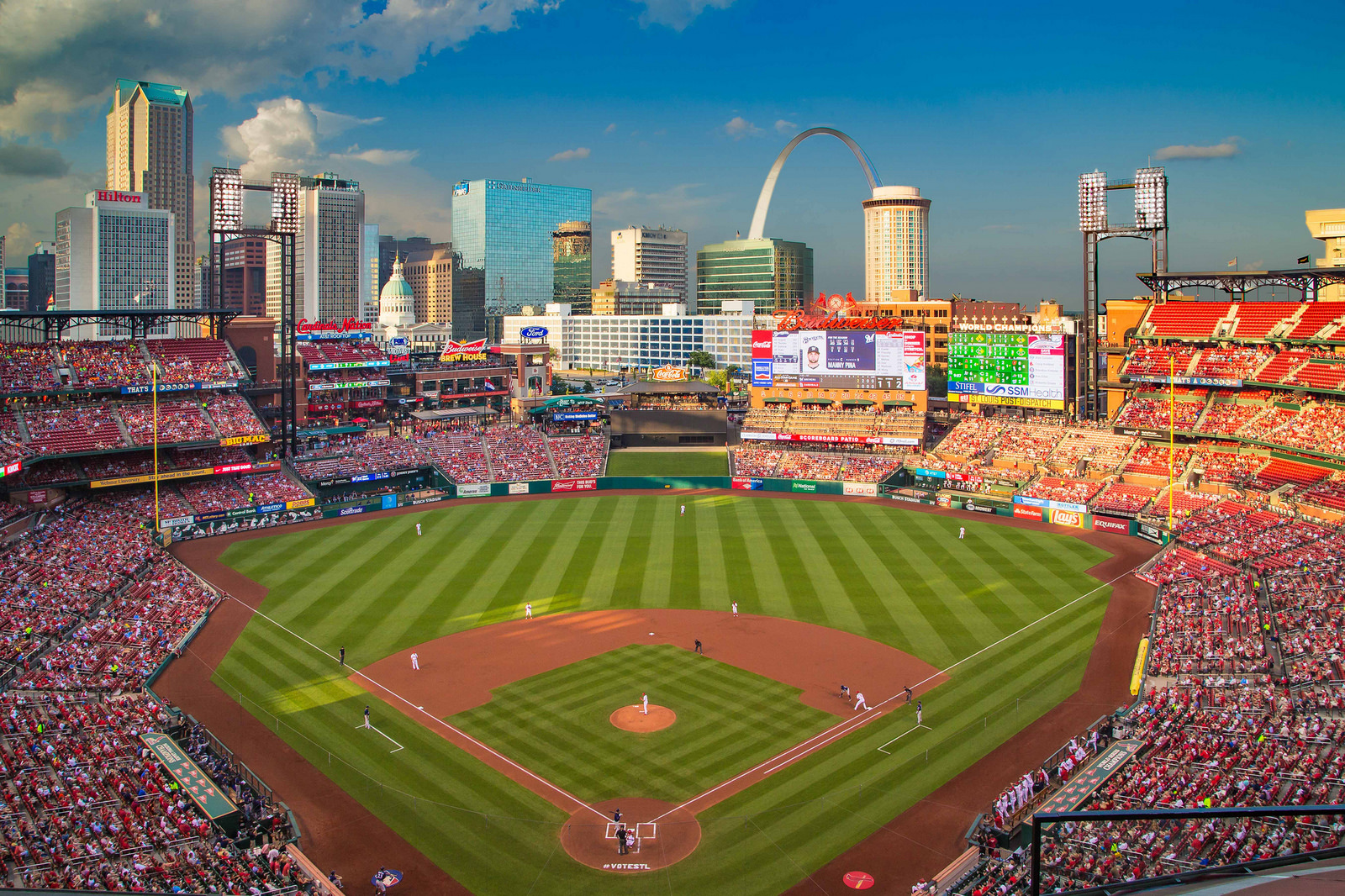 View from the upper deck at Busch Stadium, home of the St. Louis Cardinals