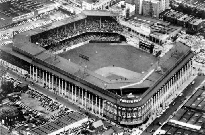 Aerial of Ebbets Field, former home of the Brooklyn Dodgers
