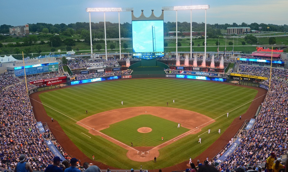 View of Kauffman Stadium, home of the Kansas City Royals