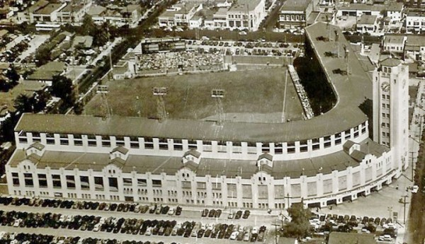 Aerial of Los Angeles' Wrigley Field, former home of the California Angels