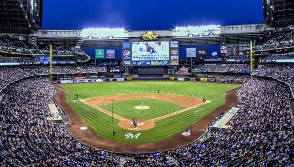 View from the upper deck at Miller Park, home of the Milwaukee Brewers