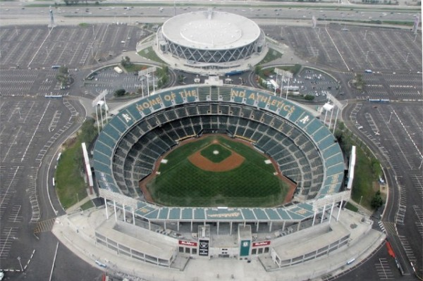 Aerial of the Oakland Coliseum today
