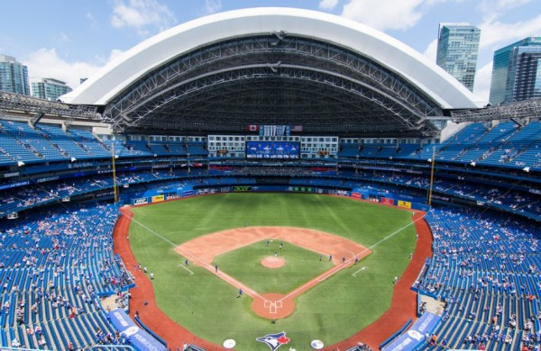 View from the upper deck at the Rogers Centre, home of the Toronto Blue Jays