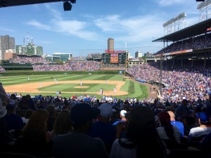 View down the first base line at Wrigley Field today