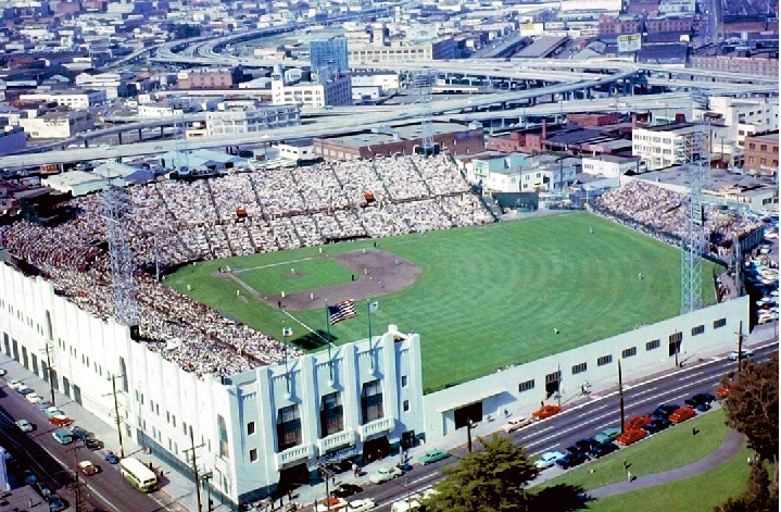 Aerial of Seals Stadium, former home of the San Francisco Giants