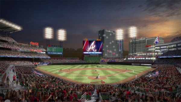 Rendering of SunTrust Park, future home of the Atlanta Braves