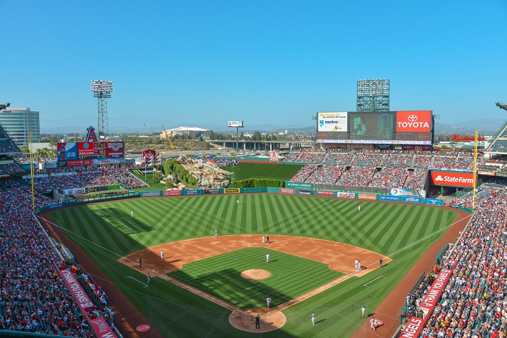Afternoon baseball at Angel Stadium