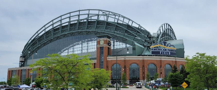 Outside American Family Field, home of the Milwaukee Brewers