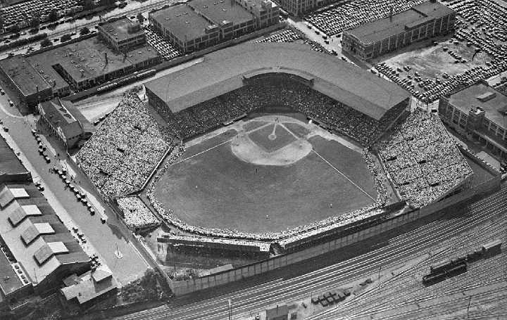 View of Braves Field, former home of the Boston Braves