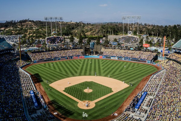 View from the upper deck at Dodger Stadium, home of the Los Angeles Dodgers
