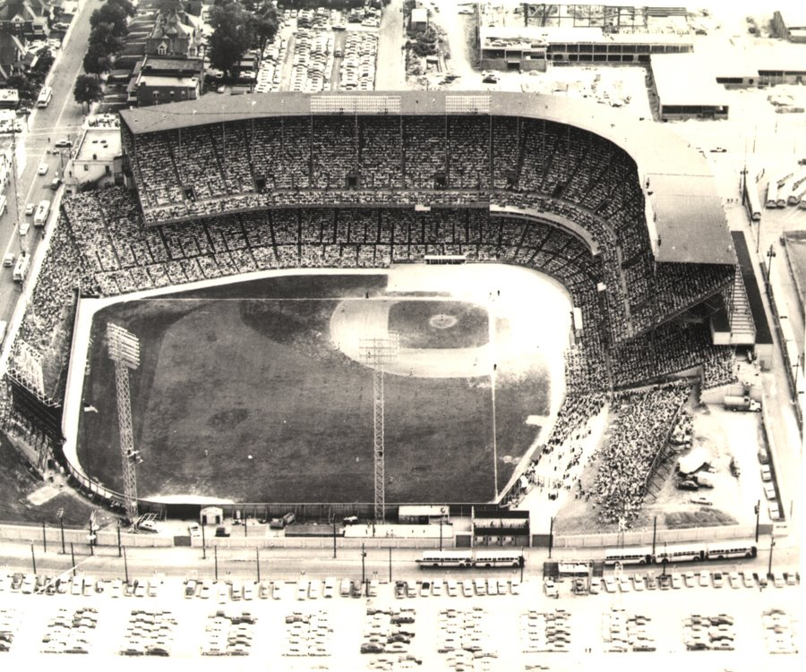 Aerial of Kansas City Municipal Stadium, former home of the Kansas City Athletics
