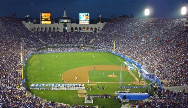 View of the Los Angeles Coliseum, former home of the Los Angeles Dodgers