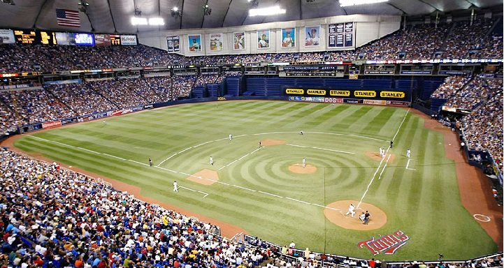 View from the upper deck at the Metrodome, former home of the Minnesota Twins