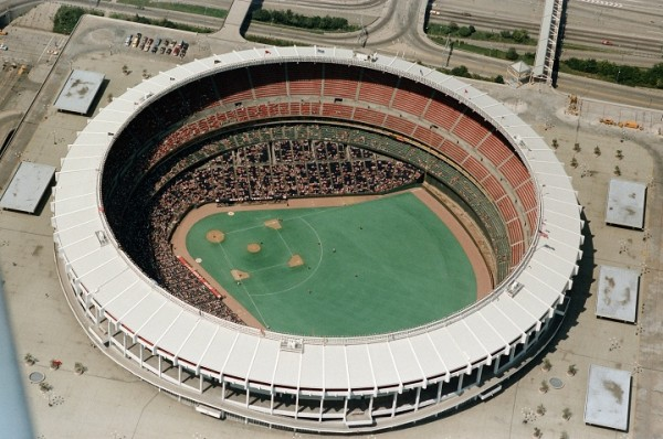 Aerial of Riverfront Stadium, former home of the Cincinnati Reds