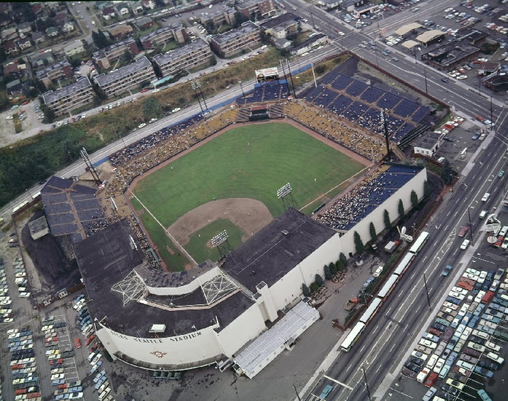 Aerial of Sicks Stadium, former home of the Seattle Pilots