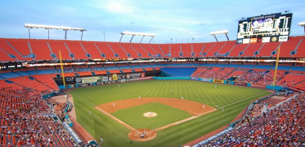 View from the upper deck at Sun Life Stadium, former home of the Florida Marlins