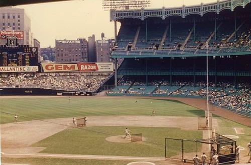 Image result for original Yankee Stadium rightfield wall