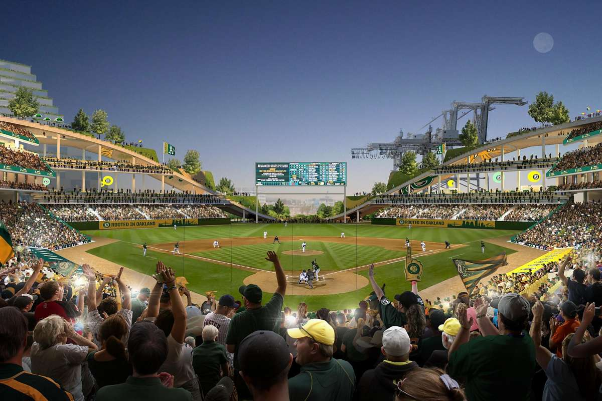 Rendering of the Oakland Athletics ballpark at Howard Terminal