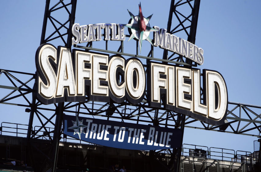 Aug 24, 2016; Seattle, WA, USA; Detail view of Safeco Field sign in left field prior to a game between the New York Yankees and Seattle Mariners. Mandatory Credit: Joe Nicholson-USA TODAY Sports