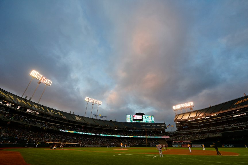 The Oakland Athletics play the Boston Red Sox in the third inning of their game at the Coliseum in Oakland, Calif., on Saturday, Sept. 3, 2016. (Jose Carlos Fajardo/Bay Area News Group)